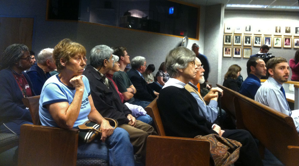 Crowd at Wage Recovery Hearing